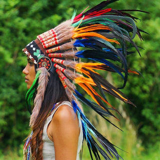 Mixed Colors Native American Headdress - 75cm