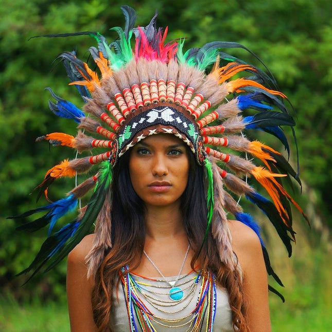 Mixed Colors Native American Headdress by Novum Crafts