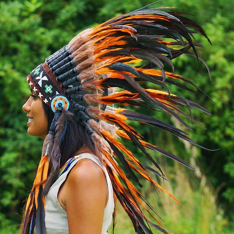 Orange native american headdress 75cm indian headdress for Native crafts for sale