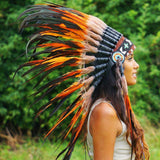 Orange Native American Headdress - 75cm