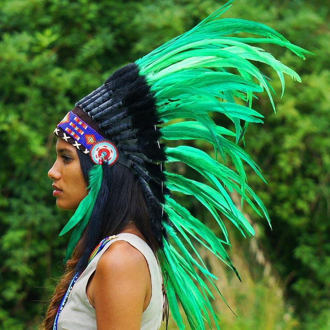 Light Green Indian Headdress - 75cm