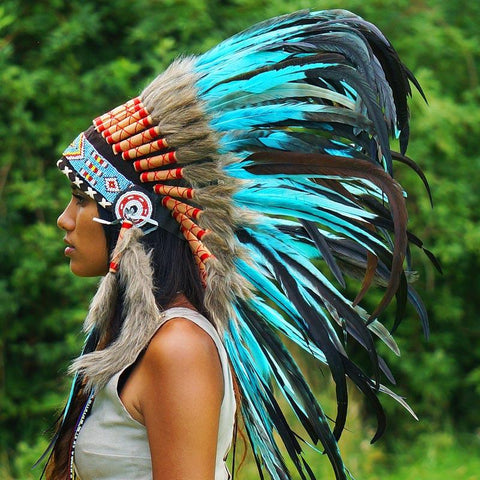 Aqua Colored Native Headdress - 90cm