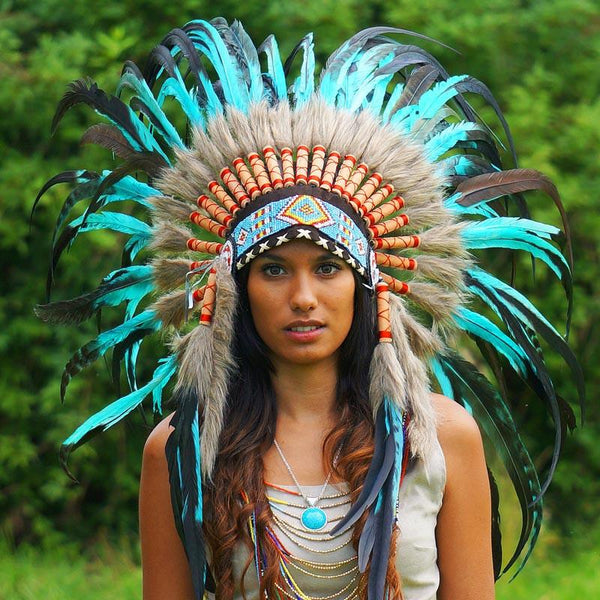 Turquoise Native American Headdress - 75cm