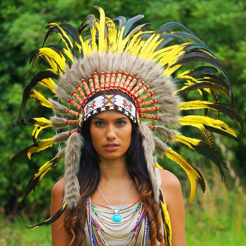 Yellow Native American Headdress 75cm Indian Headdress