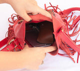Red Leather-Bag With Fringes - Small & Round