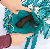 Turquoise Leather-Bag With Fringes - Large & Square