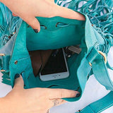 Turquoise Leather-Bag With Fringes - Large & Round