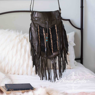 Brown Leather Bag With Fringe Detail - Large & Round