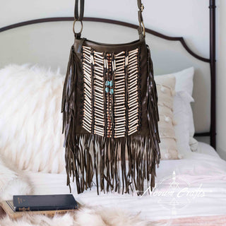 Brown Leather Bag With Fringe Detail - Large & Square