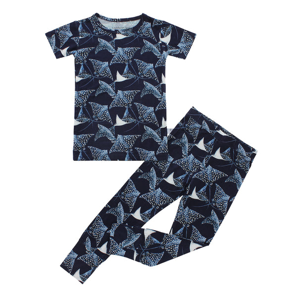 Short Sleeve Pajama Set - Pacific Blue