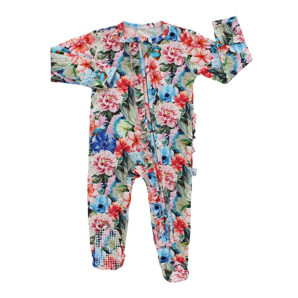 Double Zipper Ruffle Footie - Floral Paradise