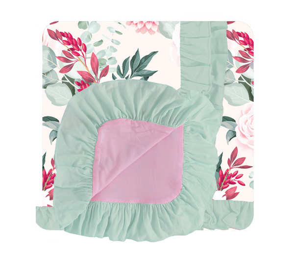 Double Sided Ruffled Blanket - Pink Bella