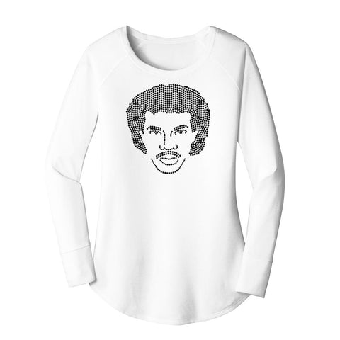 Lionel Richie Portrait in Jet Crystals Triblend Tunic