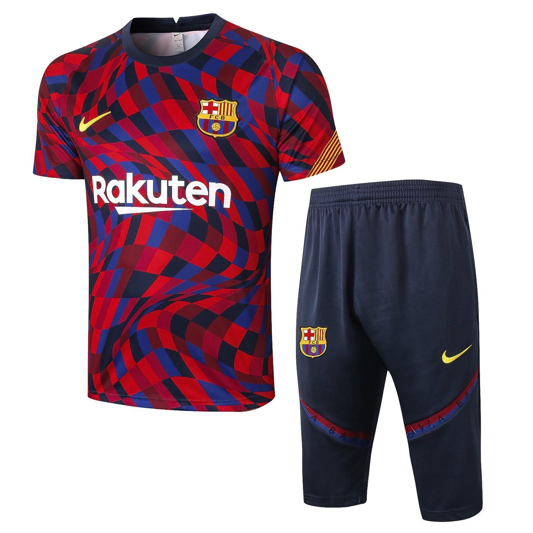 Maillot Pantalon 3/4 Barcelone Entrainement Rouge/Bleu 2021 Homme freeshipping - Foot Online