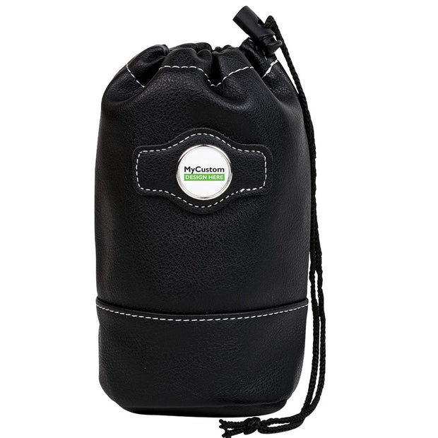 Synthetic leather drawstring pouch - Black