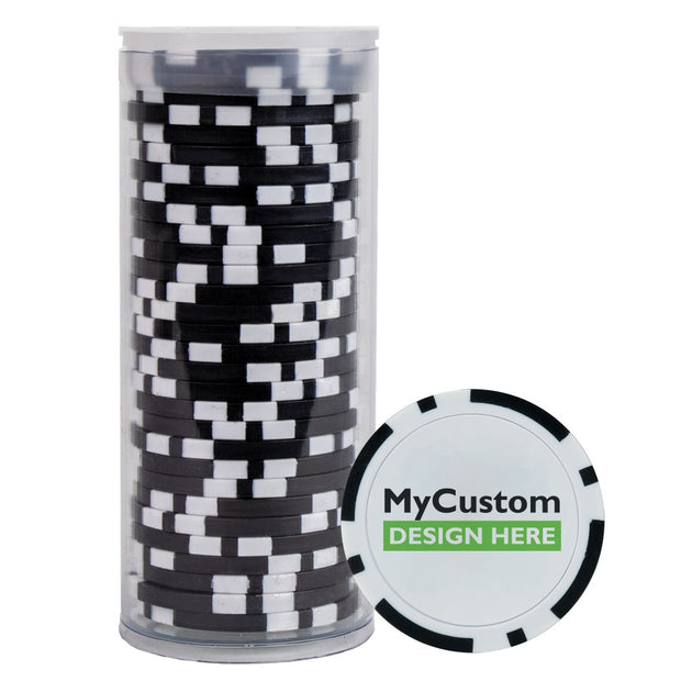 30 Black Poker Chips in Tube