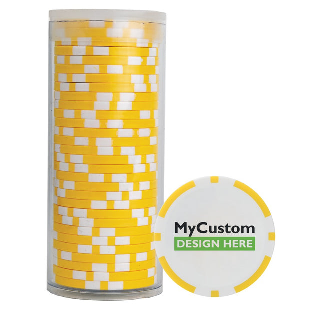 30 Yellow Poker Chips in Tube