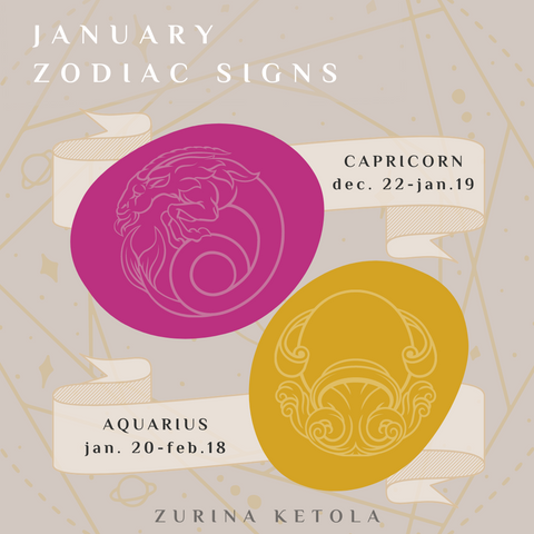 Graphic for zodiac signs of January.