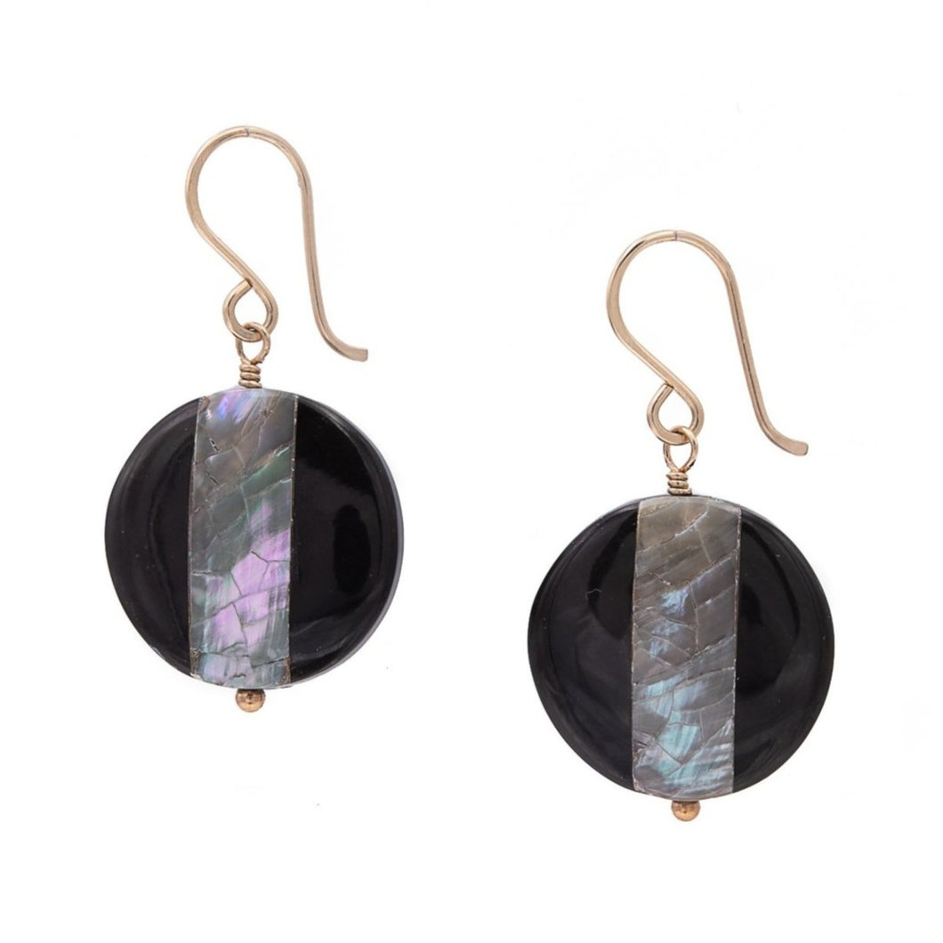Zurina Ketola Handmade Horn Earrings. Black Horn Earrings with Abalone Inlay in 14K Gold Fill.