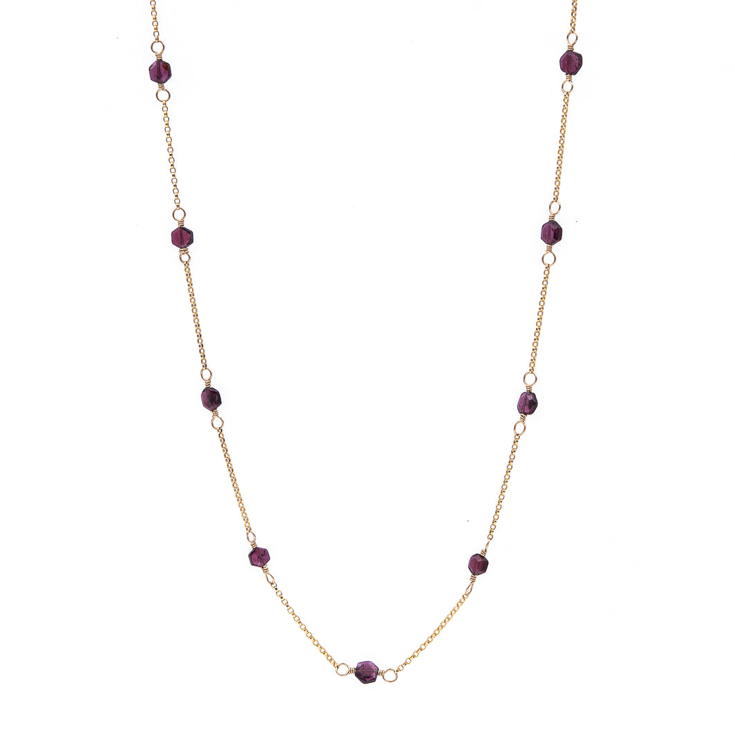 Zurina Ketola Handmade Beaded Gemstone Necklace Featuring Upcycled Garnet Hexagon Beads with 14K Gold Fill Details.