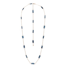 Load image into Gallery viewer, Zurina Ketola long moss aquamarine necklace in 14K gold fill shown as a shorter length with long chain and gemstone detail at clasp on white background.