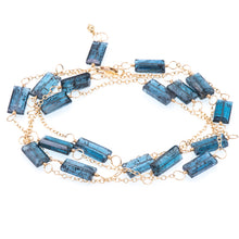 Load image into Gallery viewer, Zurina Ketola long moss aquamarine necklace in 14K gold fill shown as a wrap bracelet on white background.