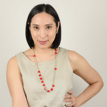 Load image into Gallery viewer, Knotted Red Triangle Necklace