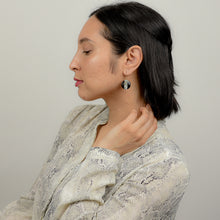 Load image into Gallery viewer, Model with mid tone skin and shoulder length black hair wearing earrings  in side profile