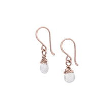 Load image into Gallery viewer, Zurina Ketola Rainbow Moonstone Delicate Drop Earrings in 14K Rose Gold Fill on White Background.