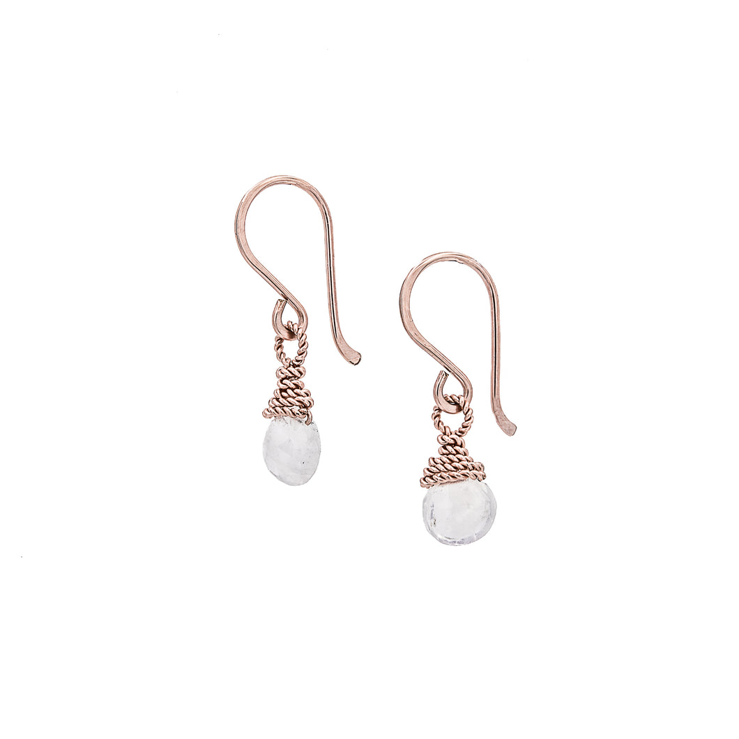 Zurina Ketola Rainbow Moonstone Delicate Drop Earrings in 14K Rose Gold Fill on White Background.