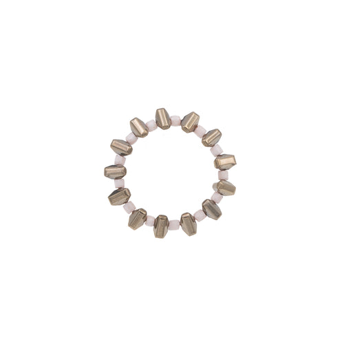 Zurina Ketola Beaded Pyrite Spike Ring in Ivory on White Background.