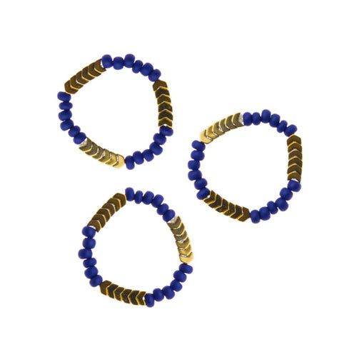 Zurina Ketola Handmade Beaded Stretch Ring. Handcrafted Beaded Stacking Ring. Zurina Ketola Beaded Stacking Rings Trio in Cobalt Blue.