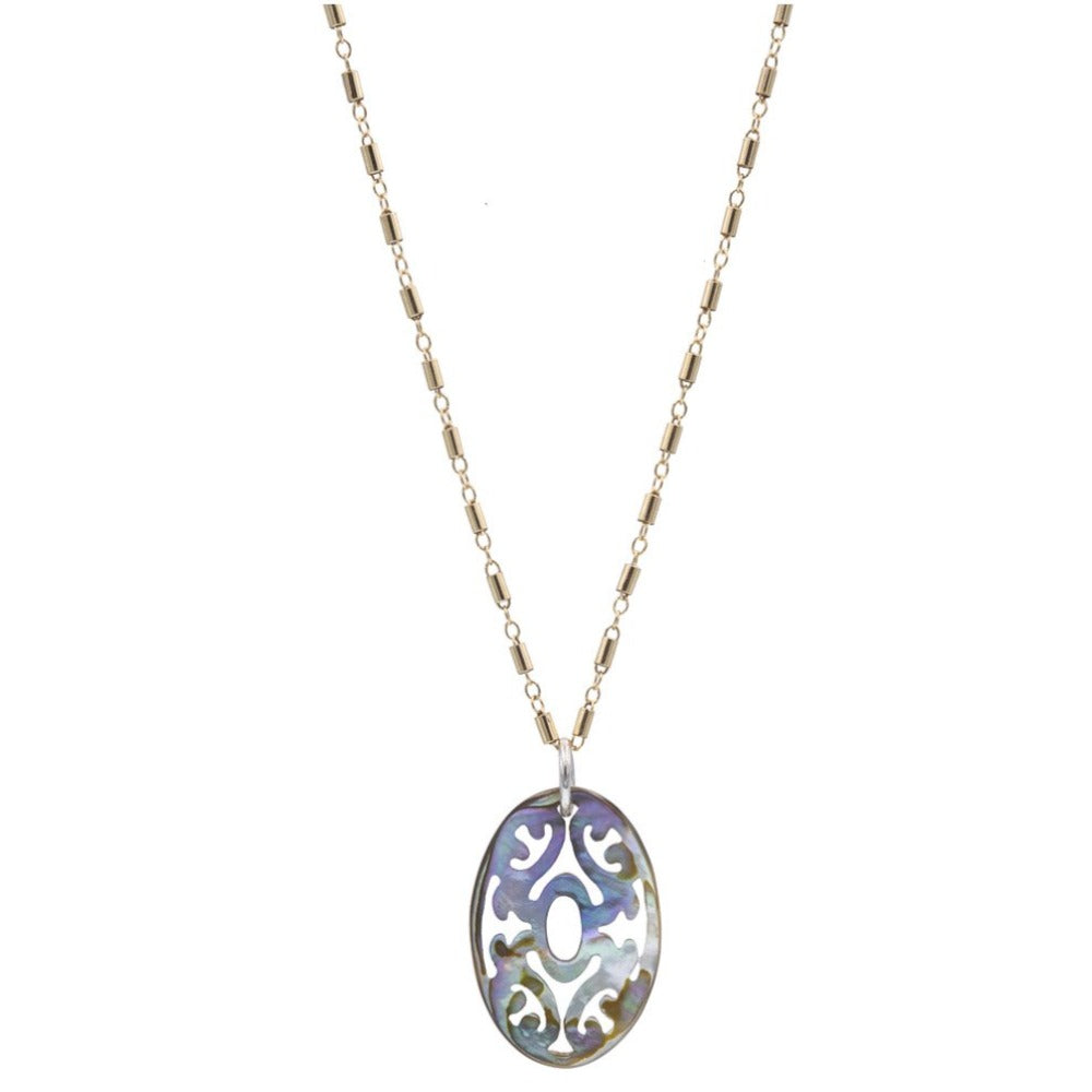 Zurina Ketola Designs Baroque Carved Abalone Necklace. Double sided. 14K Gold Fill with Sterling Silver Bail Detail.