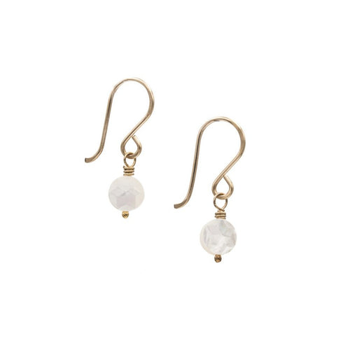 Zurina Ketola Handmade Earrings. Faceted Mother of Pearl Coin Earrings in 14K Gold Fill.