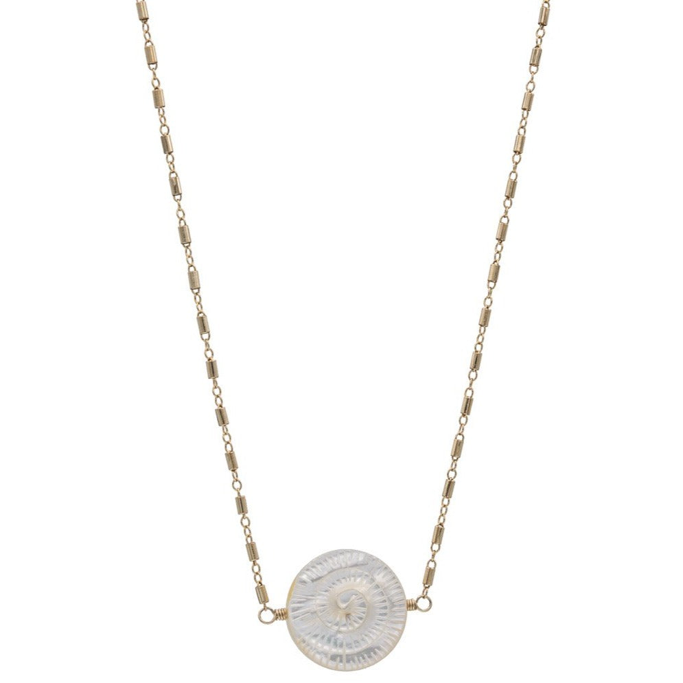 Zurina Ketola Handmade Necklaces. Carved Mother of Pearl Spiral Necklace. Double sided. 14K Gold Fill.