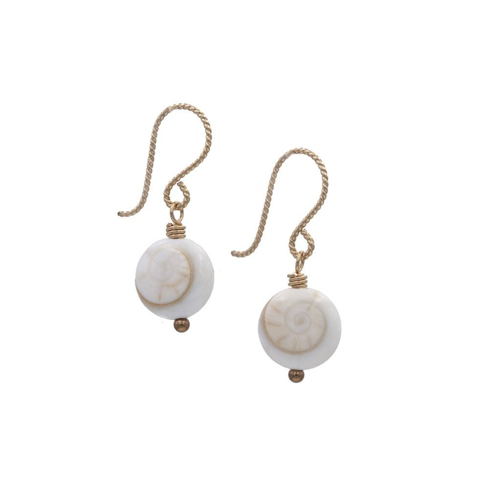 Zurina Ketola Designs Handmade Earrings. Shive Shell Sprial Drop Earrings in 14K Gold-Fill. Spiral Side.