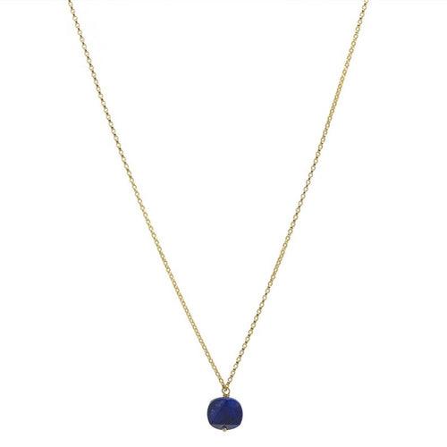 Zurina Ketola Handcrafted Lapis Gemstone Necklace.  Geometric Lapis Lazuli Pendant Necklace in 14K Gold Fill Chain