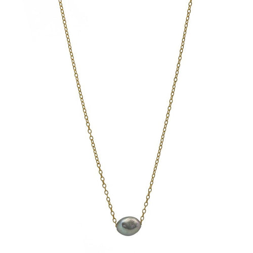 Zurina Ketola gray pearl necklace on 14K gold fill chain on white background