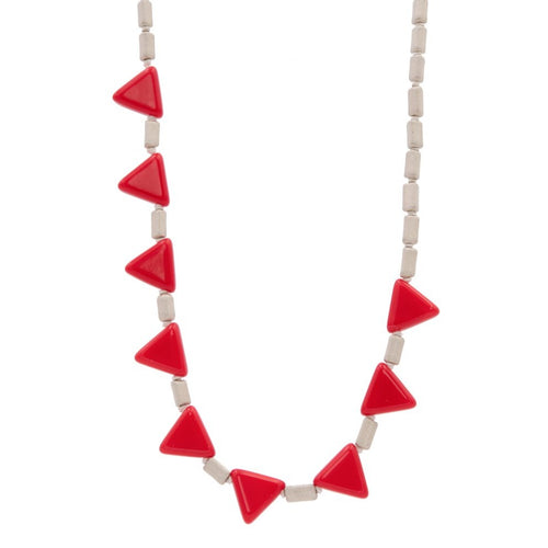 Zurina Ketola Designs Knotted Red Triangles Necklace on cotton cord on white backround. Close Up