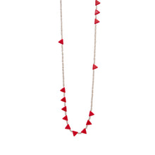 Load image into Gallery viewer, Zurina Ketola Designs Knotted Red Triangles Necklace on cotton cord on white background.