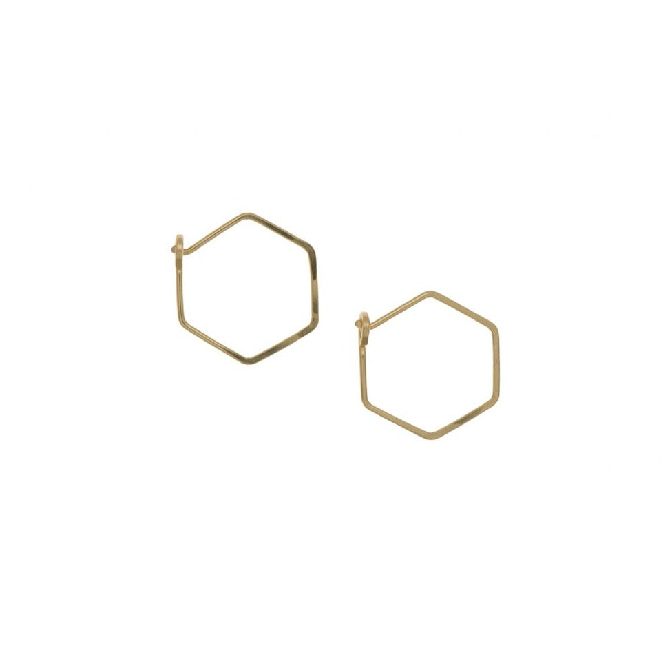 Zurina Ketola Designs handcrafted jewelry featuring handmade hoop earrings. Sleek and sophisticated, these sparkling hexagon hoop earrings are 14K gold fill.
