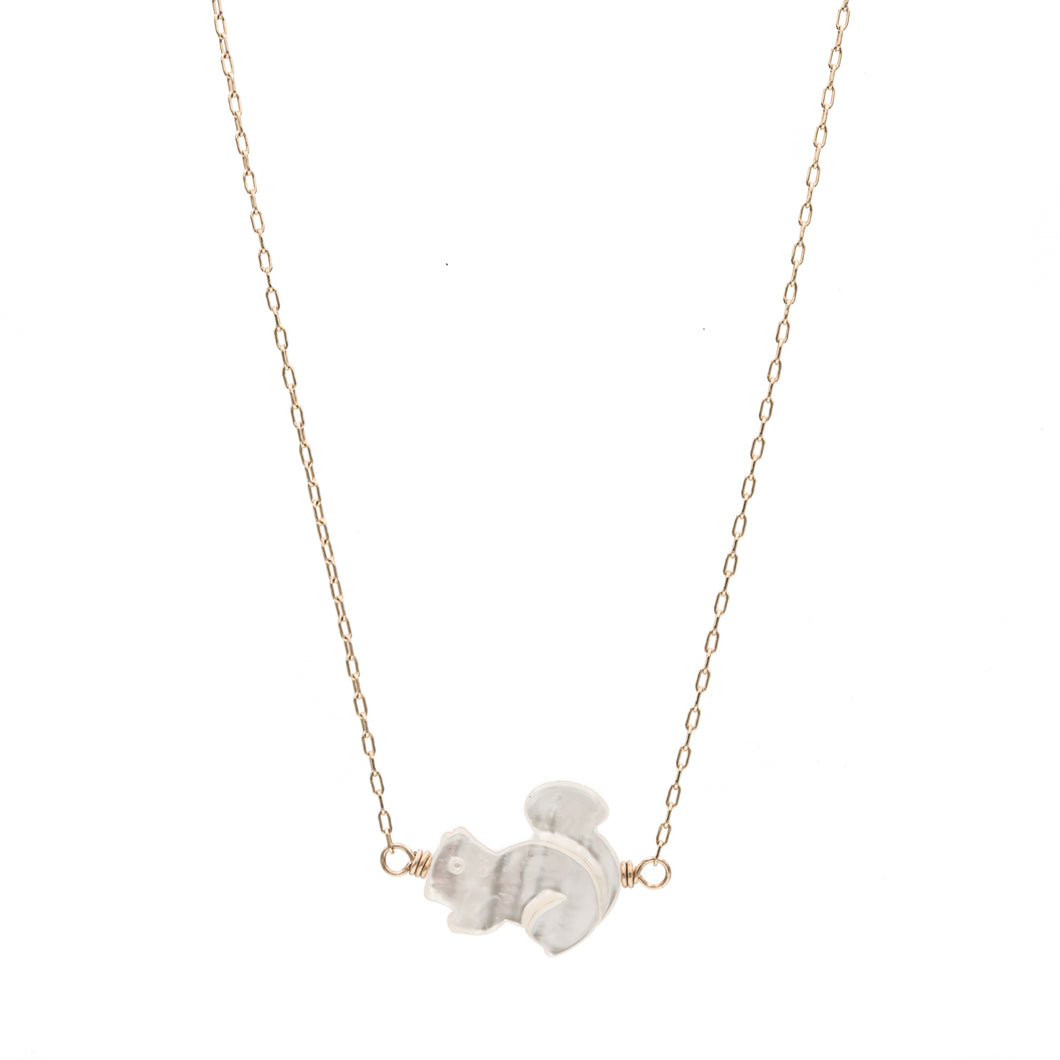 Zurina Ketola Designs carved mother of pearl squirrel necklace in 14K gold fill.