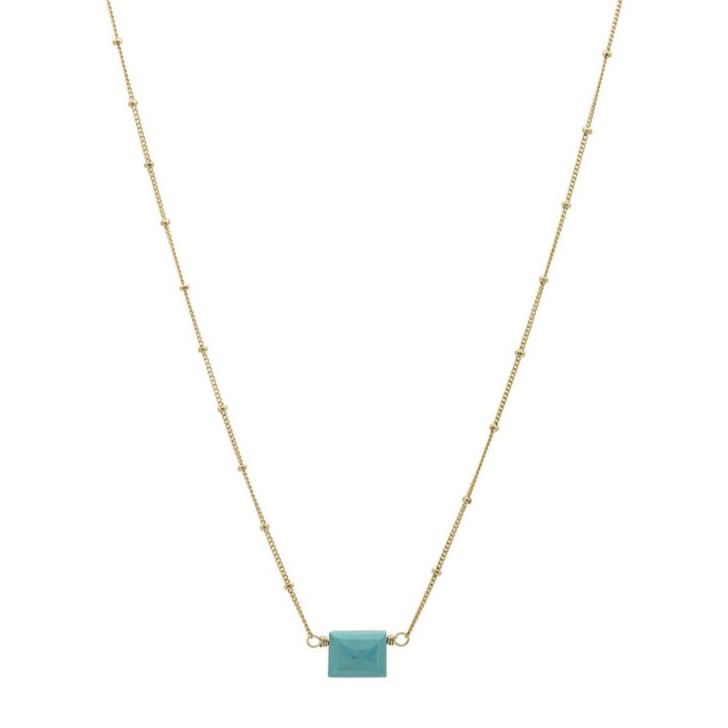 Zurina Ketola Designs Sleeping Beauty Turquoise stud necklace with satellite chain in gold fill on white background