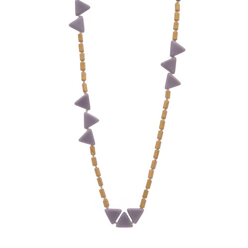 Zurina Ketola Designs Knotted Lavender Triangles Necklace on cotton cord on white background. Close Up