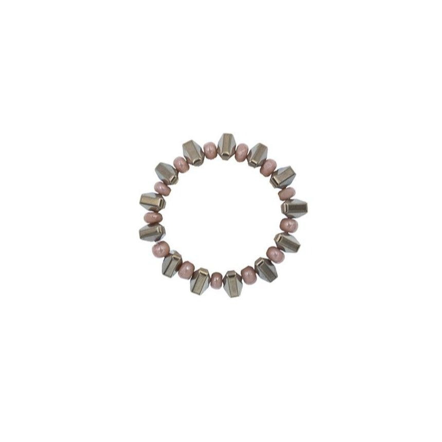 Zurina Ketola Beaded Pyrite Spike Ring in Blush on White Background.