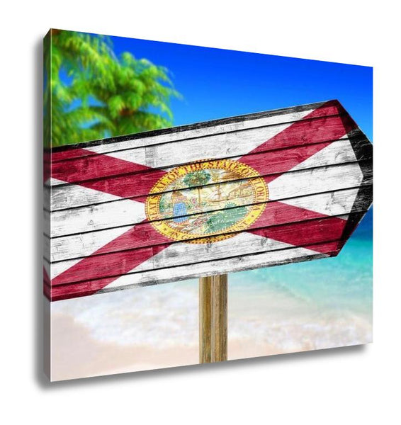 Gallery Wrapped Canvas, Florida Flag Wooden Sign On Beach