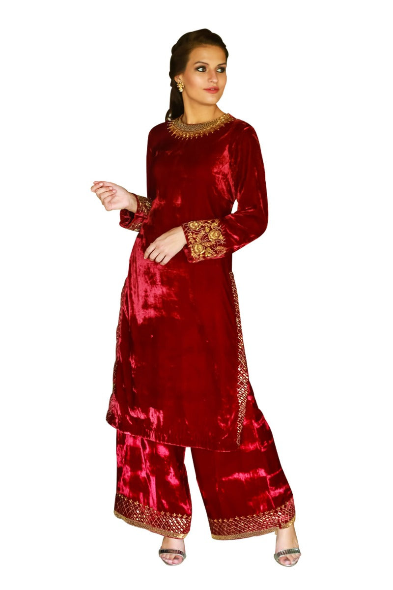 Ruby Zardozi Detailed Kurta Set
