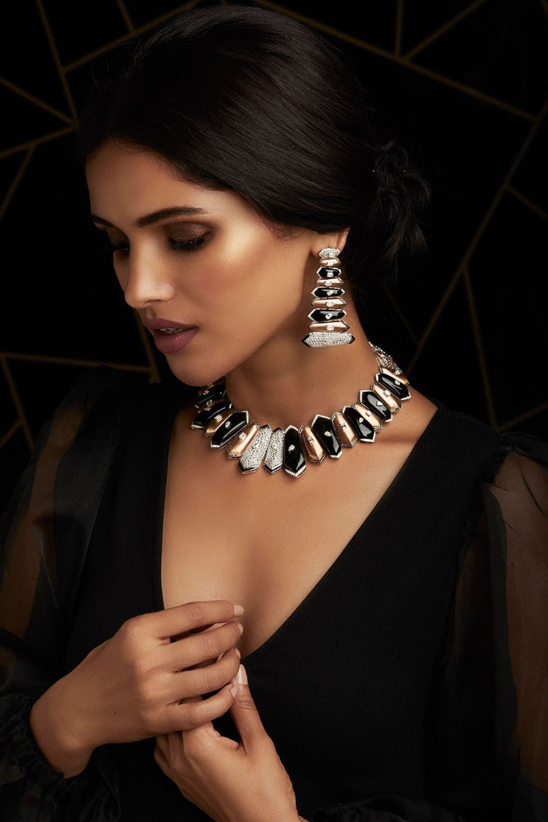 Khanna Jewellers Diamond & Black Onyx Necklace Set