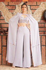 LILAC CAPE WITH PALAZZO