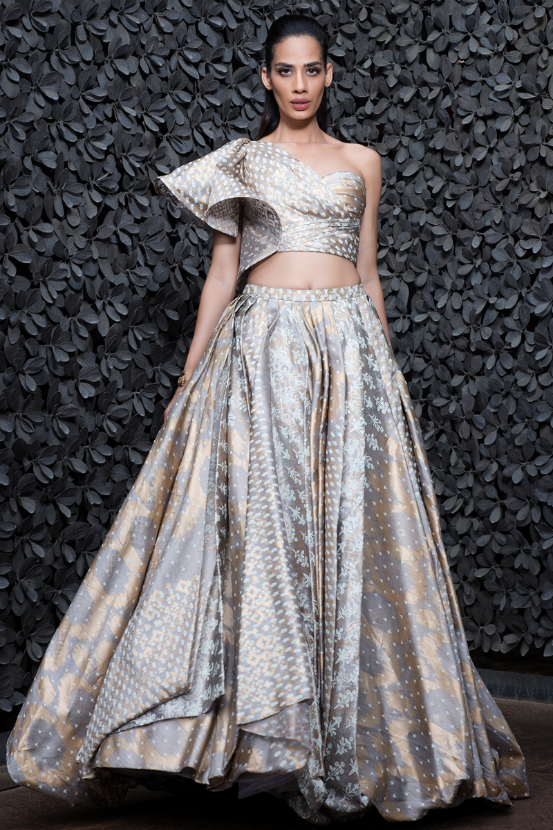 Shantanu & Nikhil Silver and Gold Lehenga